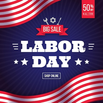 Labor day sale banner with tools
