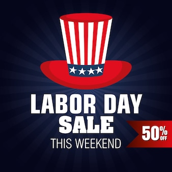 Labor day sale big isolated icon