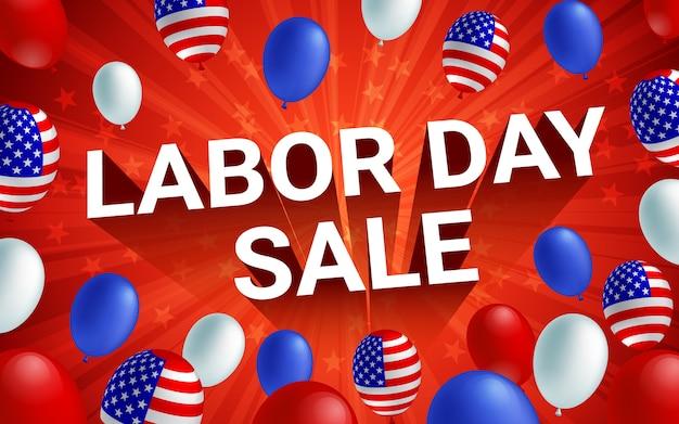 노동절 판매 축 하 미국 풍선 포스터입니다.