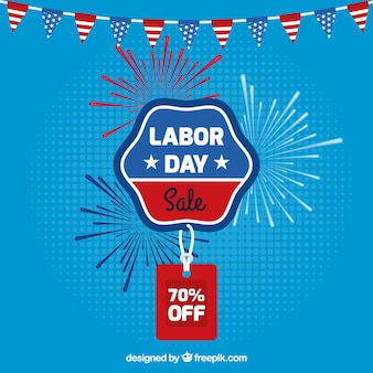 Labor day sale composition with flat design