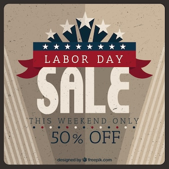 Labor day sale composition with vintage style