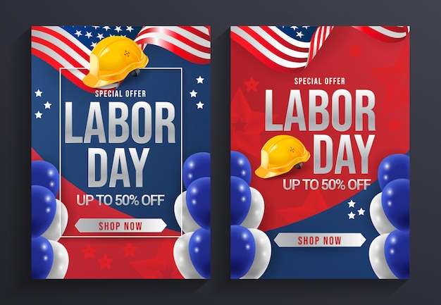 Labor day sale flyer template vector