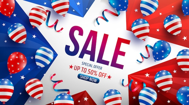 Labor day sale poster template.usa labor day celebration with american balloons flag,star and tools.