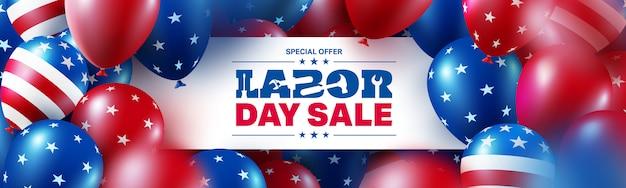 Шаблон плаката продажи дня труда. празднование дня труда сша с флагом многих американских шаров.