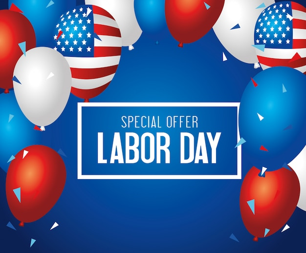 Labor day sale promotion advertising banner, with balloons helium decoration