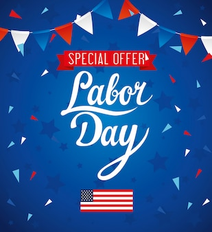 Labor day sale promotion advertising banner, with flag and garlands hanging decoration