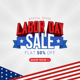 Labor day sale promotion banner template