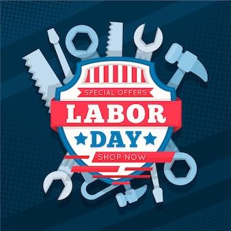 Labor day sale (usa) in flat design