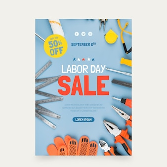 Labor day sale vertical poster template with photo