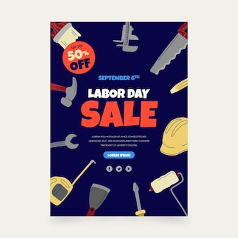 Labor day sale vertical poster template
