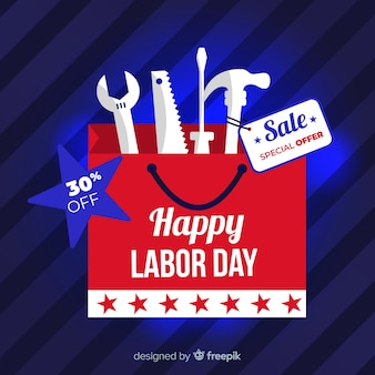Labor day sales background flat design
