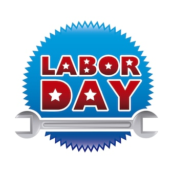 Labor day sticker over white background vector illustration