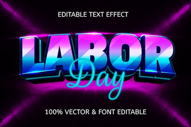 Labor day style neon editable text effect