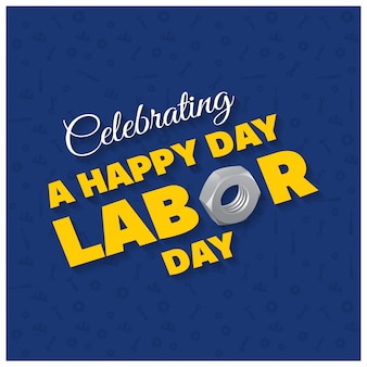 Счастливый день труда красивая типография на синем фоне