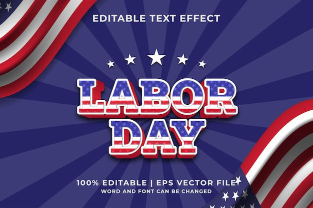 Labor day text effect editable template. premium vector