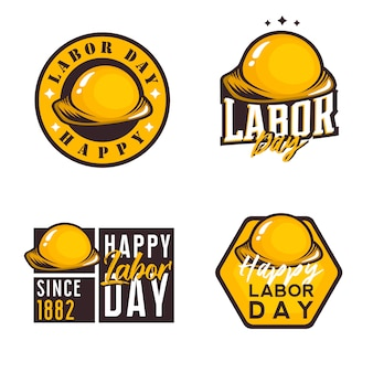 Labor day themed logos, badges, labels, emblems with construction helmet. usa national public holiday logo theme