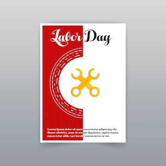 Labor day typographic card with red background