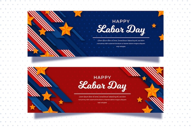 Labor day usa banners concept