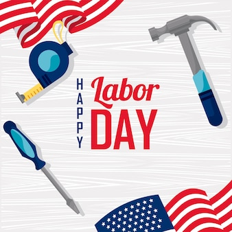 Labor day usa postcard