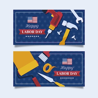 Labor day vertical banners set