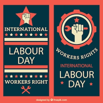 Labor day vertical banners
