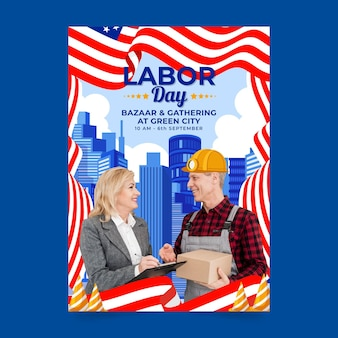 Labor day vertical flyer template with photo