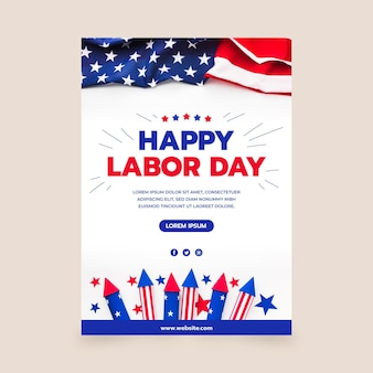 Labor day vertical poster template with photo