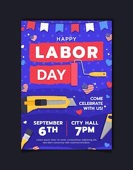 Шаблон вертикального плаката ко дню труда