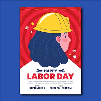 Labor day vertical poster template