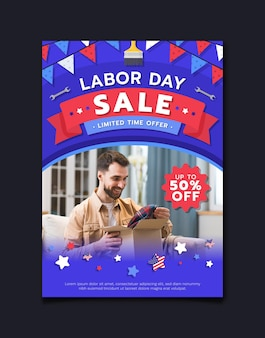 Labor day vertical sale flyer template with photo