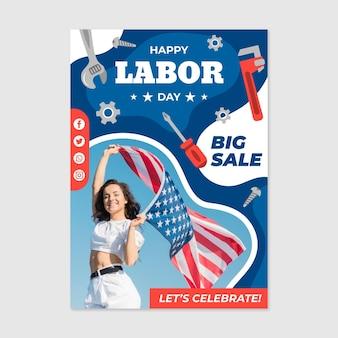 Modello di volantino di vendita verticale della festa del lavoro con foto