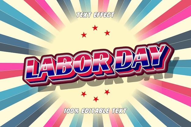 Labor day vintage retro editable text effect