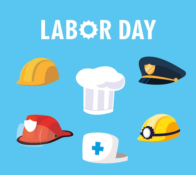 Labor day with helmets and hats of professionals