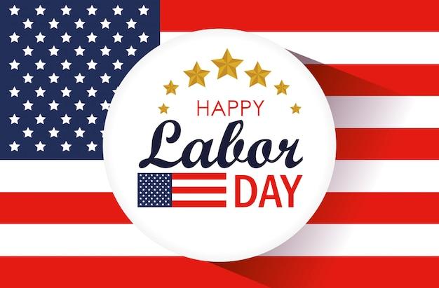 労働者の日ラベルと米国旗