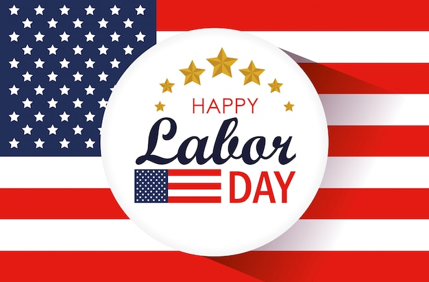 Labor day with label and usa flag