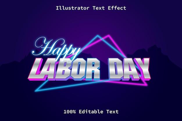 현대 네온 복고 스타일 편집 가능한 텍스트 효과와 노동절