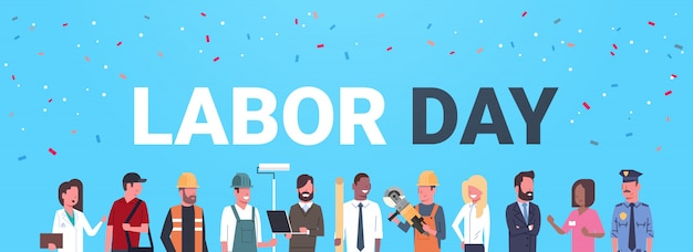 Labor day with people of different occupations