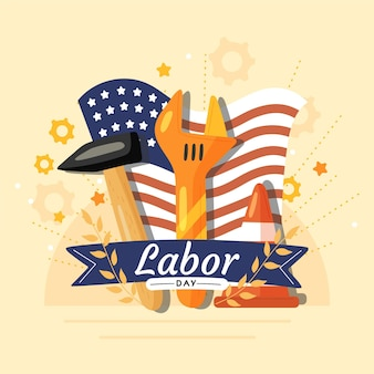 Labor day with tools and flag