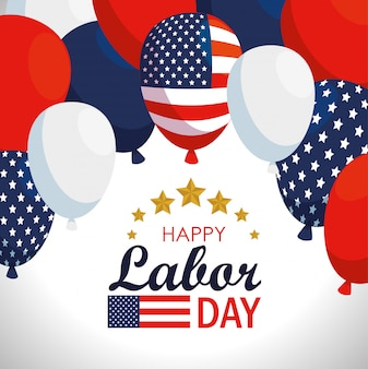 Labor day with usa flag balloons