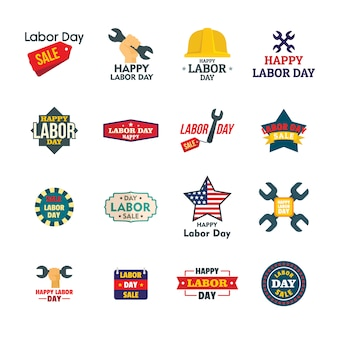Labor day workers sale celebration logotype icons set
