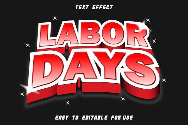 Labor days editable text effect emboss modern style