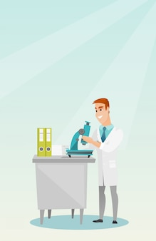 Laboratory assistant with a microscope.