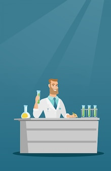 Laboratory assistant at work vector illustration.