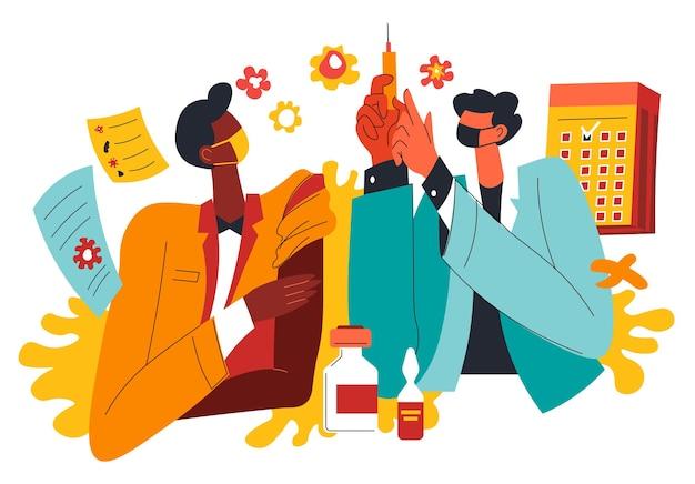 백신 발명에 종사하는 실험실 조수 및 과학자. 코로나바이러스 질병 치료에 대해 생각하는 사람들. 의학 및 건강 관리의 생화학 및 발병. 평면 스타일의 벡터