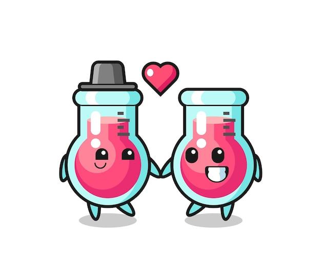 사랑 제스처에 빠진 실험실 비커 만화 캐릭터 커플, 티셔츠, 스티커, 로고 요소를 위한 귀여운 스타일 디자인