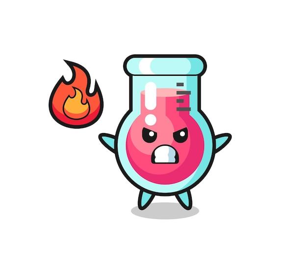 화난 제스처가 있는 실험실 비커 캐릭터 만화, 티셔츠, 스티커, 로고 요소를 위한 귀여운 스타일 디자인