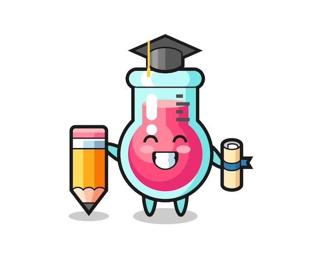 실험실 비커 그림 만화는 티셔츠, 스티커, 로고 요소를 위한 귀여운 스타일 디자인, 거대한 연필로 졸업하는 것입니다.