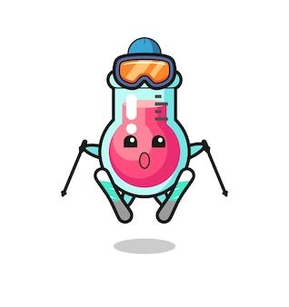 Персонаж талисмана лабораторного стакана как лыжник, милый стиль дизайна для футболки, наклейки, элемента логотипа