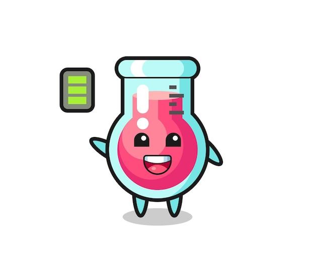 활기찬 몸짓을 가진 실험실 비커 마스코트 캐릭터, 티셔츠, 스티커, 로고 요소를 위한 귀여운 스타일 디자인