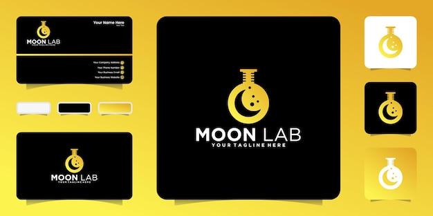 Логотип лабораторной бутылки и месяц вдохновения и дизайн визитной карточки